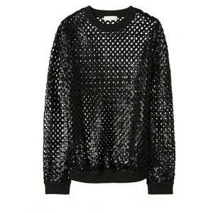 Tory Burch Black Lansing Sequin Sweater XL